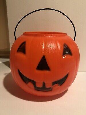 Halloween Pumpkin Candy Bucket Vintage Bright Orange Blow mold Jack O'lantern