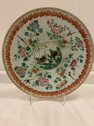 Antique Chinese Porcelain Famille Rose Large Circular Dish, circa 1880