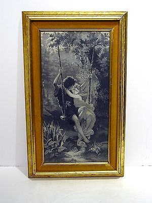 French Silk Jacquard Woven Picture of Couple on a Swing, Framed
