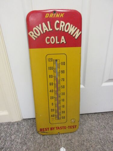 VINTAGE ADVERTSING ROYAL CROWN COLA POP SODA STORE  TIN THERMOMETER  A-225