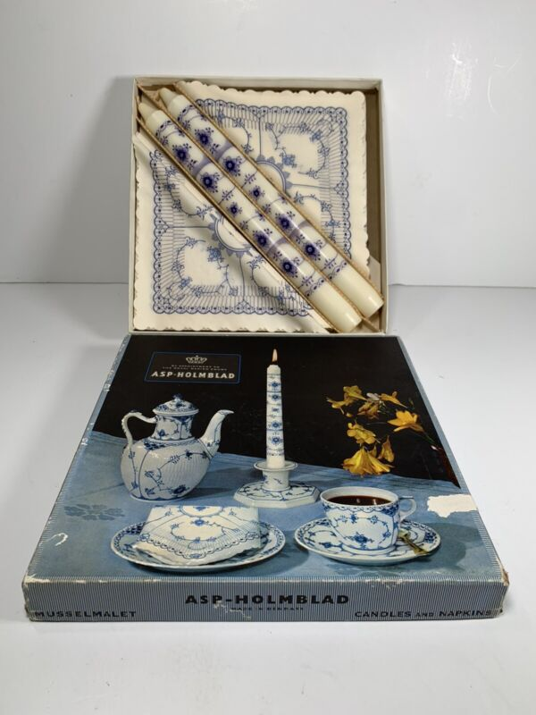 RARE Vintage Danish ASP-Holmblad Candles and Napkins blue and white 1960's New