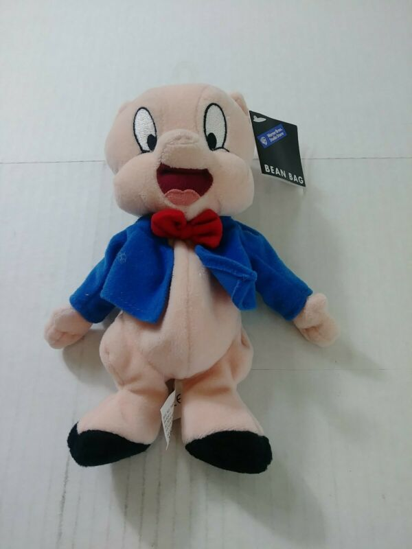 "1998 PORKY PIG 9"" Bean Bag Plush NWT Warner Bros Studio Store Vintage Stuffed"