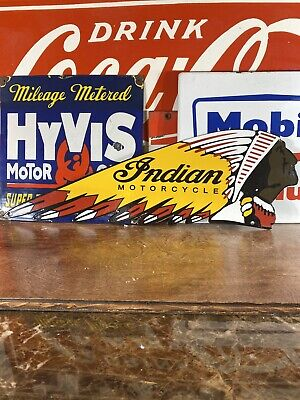 """VINTAGE stlye """"INDIAN"""" GAS & OIL PLATE HEAVY PORCELAIN SIGN 24 X7.5 INCH"""