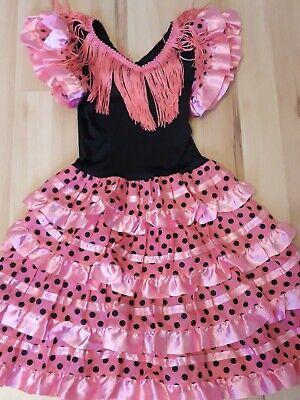 Spanisches Mädchen Flamenco Kleid Gr.2 Fashing Kostüm 1-2 Jahre Rosa Spanierin