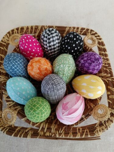 primitive Easter gathering 12 rag wrapped eggs bowl fillers farmhouse one dozen
