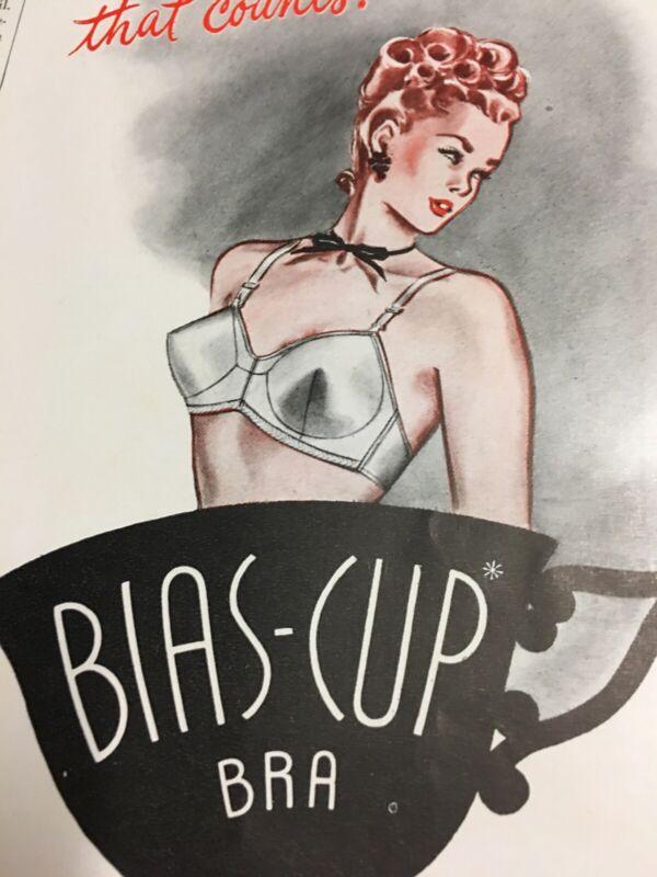 1946 Vintage Model Brassieres Bias Cup Bra Teacup Illustrated Print Ad