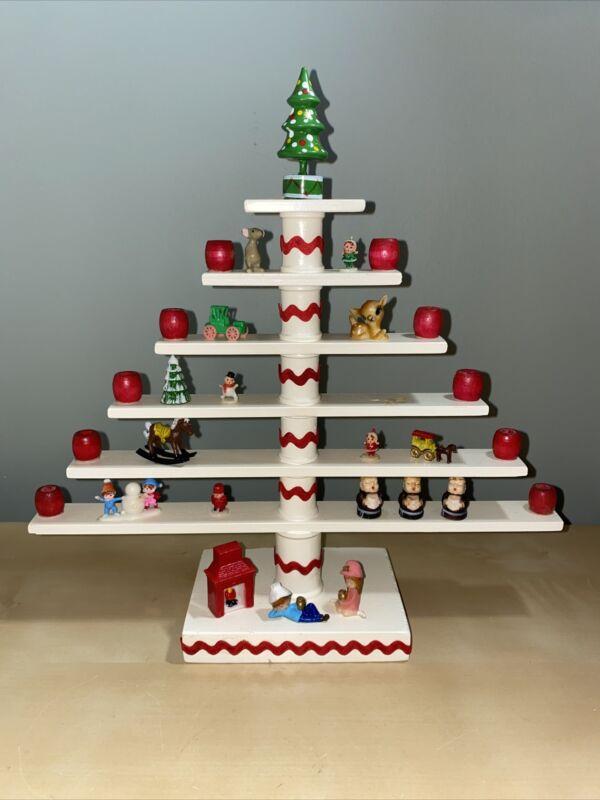 Vintage Wooden Christmas Tree Candle Holder- Handmade- Miniatures