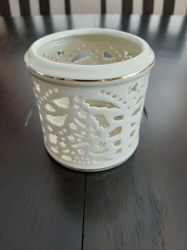 Formalities Ivory christmas Candle Holder Gold Trim Baum Bros Pierced Porcelain