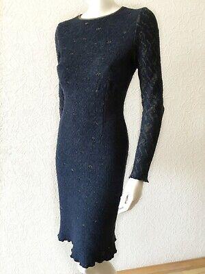 John Galliano blue grey wool bodycon dress S - Designer pencil dress