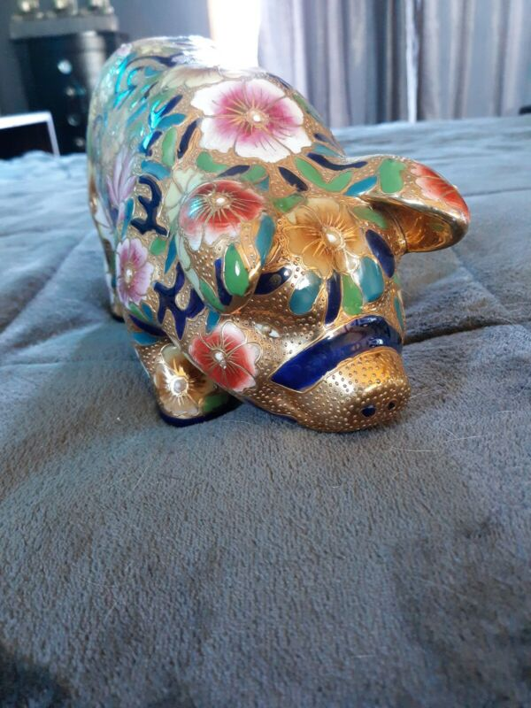 9 Inch Enameled Pig Statue