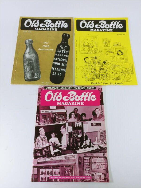 Vintage Old Bottle Magazine Lot-Oct 1971, June 1976, Aug 1976 Antique Collector