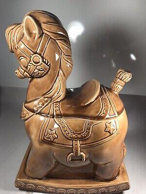 Vintage 1956 Alberta's Pottery Ceramic Brown Rocking Horse Cookie Jar 13 x 9