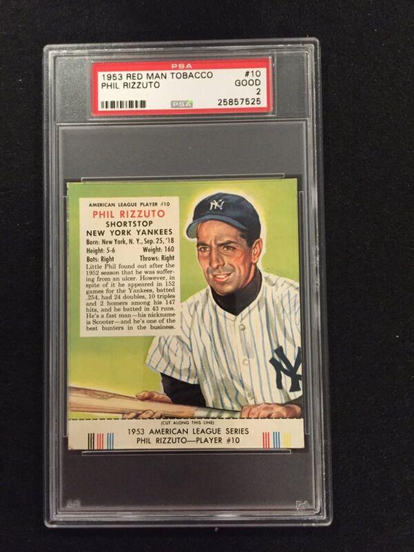 1953 Phil Rizzuto #10 New York Yankees Hof - Red Man Tobacco  Psa 2