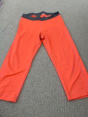 Ladies Nike Pro Knee Length Legging Orange Size L Large Running Gym Yoga