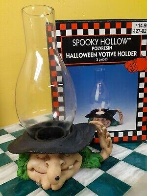 Witch Candle Votive Vintage 1998 Spooky Hollow Polyresin Halloween Votive Holder