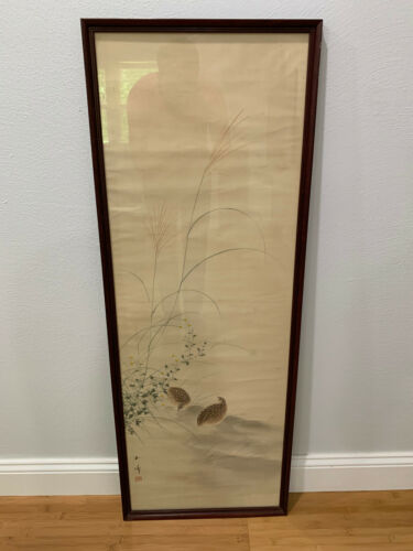 Antique Chinese or Japanese Signed Painting on Silk Quail Birds & Flowers Dec.
