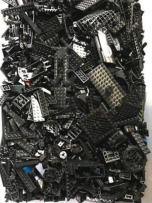 100+ Black LEGO PIECES HUGE BULK LOT OF BRICKS PARTS RANDOM RARE BLOCKS