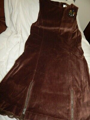 EUC Boutique Girls size 10 Brown Velvet and Lace Holiday Overall Jumper dress Dr