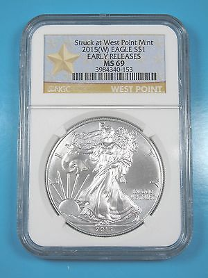 2015  W  Ngc Ms69 Silver Eagle Struck At West Point Early Releases Star Label