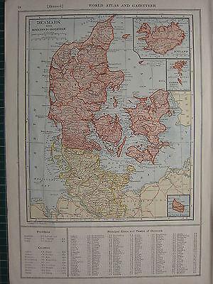 1926 MAP ~ DENMARK SCHLESWIG-HOLSTEIN JUTLAND ZEALAND FUNEN ICELAND