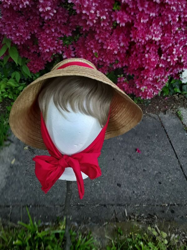 1960s HAPPY CAPPERS STRAW HAT w/red scarf by FIELD CO. LOS ANGELES, CALIF.