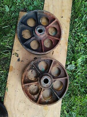 Set Of 2 - Vintage Cast Iron Casters Wheels 10 Od