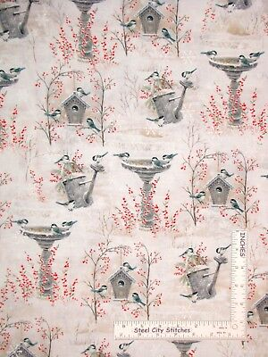 Christmas Snow Berry Bird Bath Scenic Cotton Fabric QT Winter Garden By The Yard