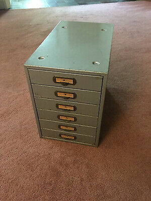 Vintage Metal 6-drawer Film Strip File Cabinet Jack C. Coffey Co.