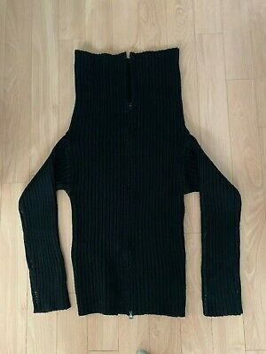 Maison Martin Margiela MM6 Black Wool Sweater Long Zip Neck Cardigan L