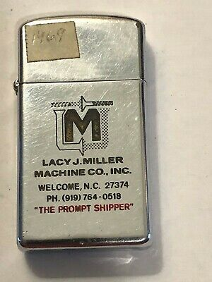 Vtg 1969 Slim Polished Chrome Zippo Lighter Lacy J Miller Machine Advertisement