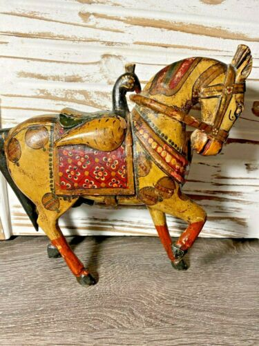 Vintage Rustic Carved Wooden Horse Distressed Figurine Statue Hand Painted