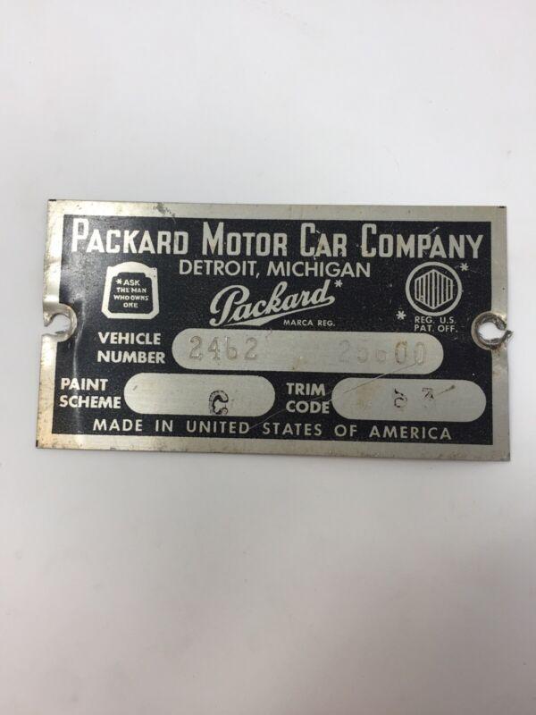 Antique PACKARD MOTOR CAR COMPANY Metal Plate Vehicle ID Automobilia Detroit MI