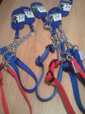 Ancol Quality Half Check Choke Nylon/Chain Dog Training Collar