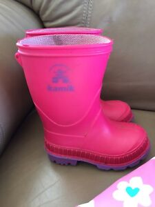 Toddler girl boots and raincoat
