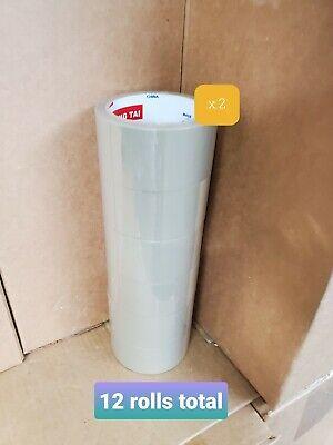 12 Rolls 2.5 Mil Thick 2x55 Yard Premium Tan Carton Box Sealing Packing Tape