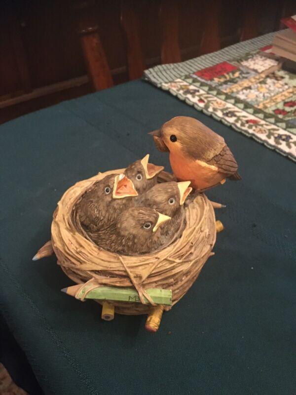 Hallmark Marjolein Bastin Bird Nest Music Box Figurine Baby Birds