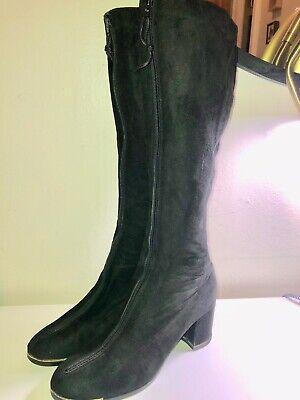 Gold Trim Boots (VINTAGE 60'S-70'S GOLO BLACK SUEDE ZIP FRONT TALL GO-GO BOOTS GOLD TRIM*6)