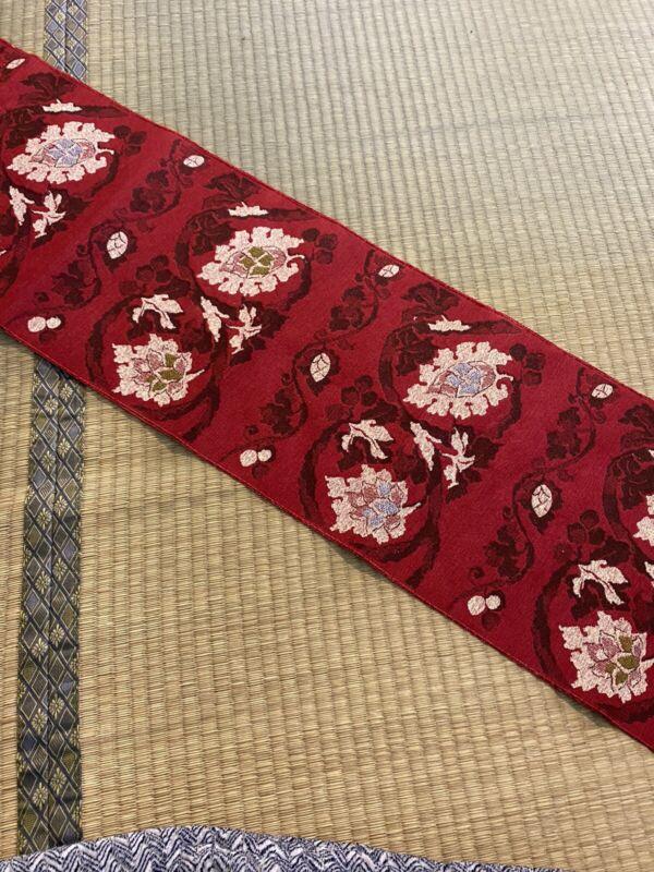 Vintage Japanese Nagoya Obi/  Red Color / Flower #681