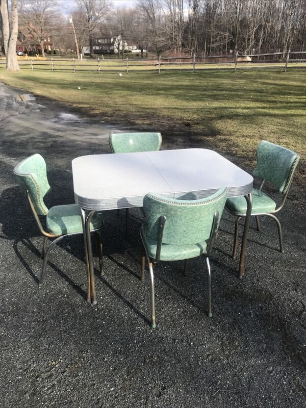 Vtg 40s 50s Retro Teal Chrome Kitchen Table Dinette 4 Chairs Classic Leaf Ex++