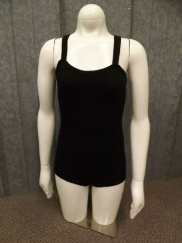 Vtg 50s 60s NEW NOS Jet Black Cotton Rubber Sleeveless Leotard Swimsuit Girls 10