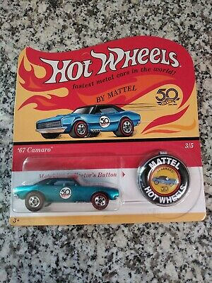 Hot Wheels '67 Camaro Chevy Chevrolet 50th Anniversary w/ Collector Button