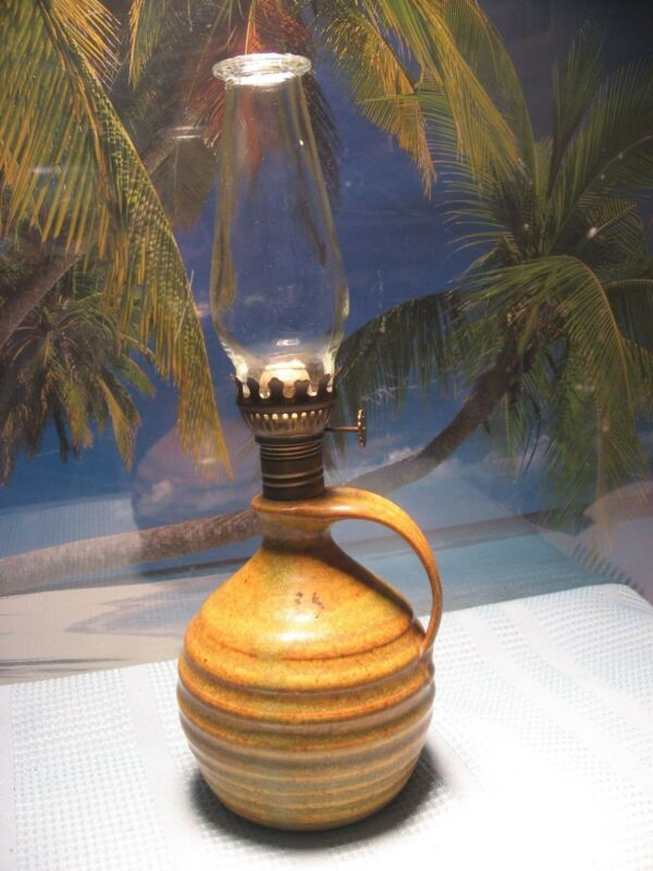 SWEET SMALL POTTERY STYLE HANDLED JUG OIL KEROSENE LAMP WITH BURNER AND CHIMNEY