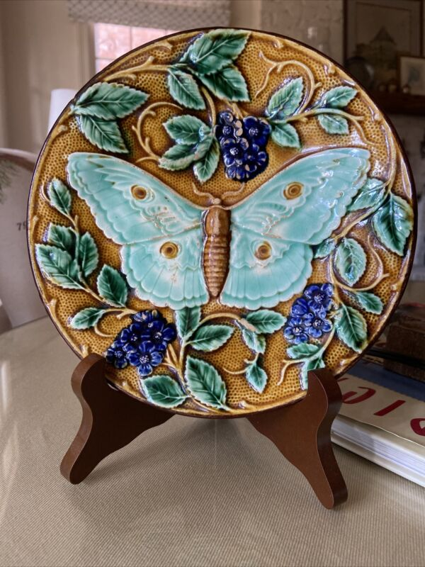 Josef Steidl Znaim Czech Antique Majolica Moth Butterfly Plate