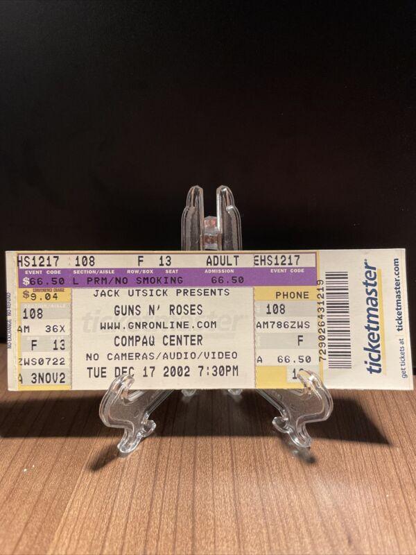 Guns N Roses Concert Ticket Unused Vintage Dec 17 2002 Compaq Center Houston TX