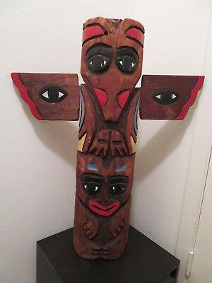 """Hand Carved Northwest Coast Wood Totem Pole Large 30"""""""