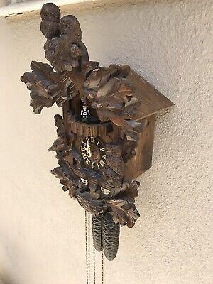 Vintage Large Hand Carved German Black Cuckoo Clockw/swiss Musical Bllew Owel