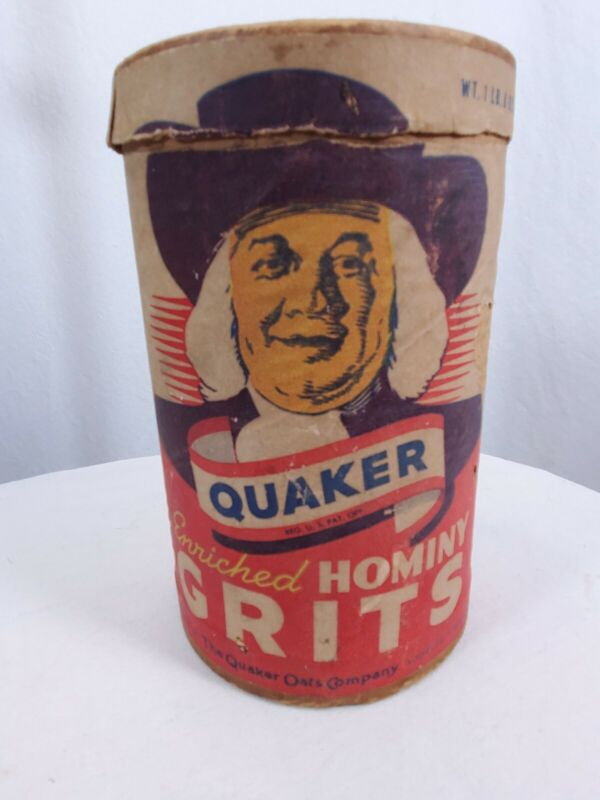 Antique Vintage Quaker Hominy Grits Cardboard Container 1 Lb 8 Oz Empty Chicago