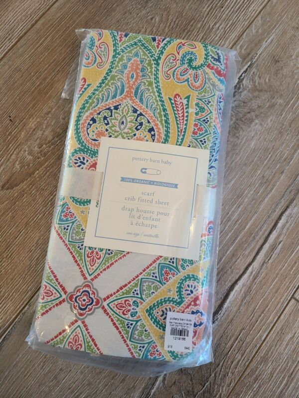 NEW Pottery Barn Kids Organic Fitted Crib Sheets Multi Color