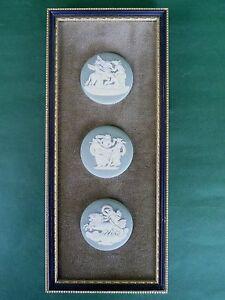 Wedgwood Jasper Ware Green Framed Three Cameo Medallion Neoclassical Plaques