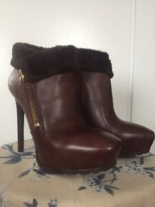 Guess brown leather booties - size 8